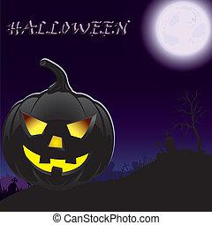Halloween pumpkin in moonlight