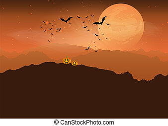 halloween pumpkin in spooky landscape 0808