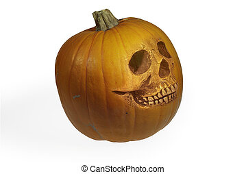 Halloween pumpkin in the form of a skull