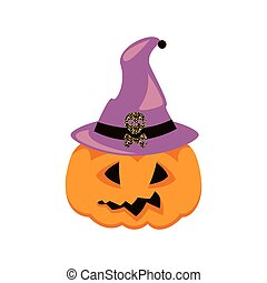Halloween pumpkin in witch hat vector.