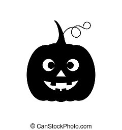Halloween pumpkin Jack O Lantern black funny icon. Vector illustration.