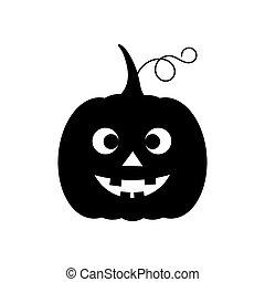 Halloween pumpkin Jack O Lantern black funny icon. Vector ...