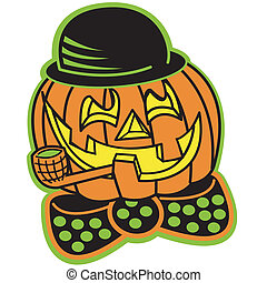 Halloween Pumpkin or Jack O Lantern with a happy, smiling carved face in classic cartoon style.