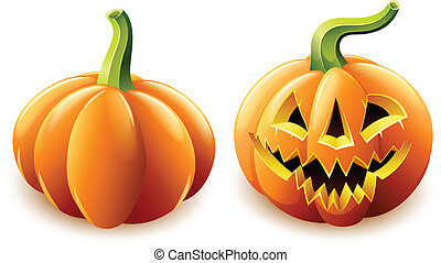 halloween pumpkin jack-o-lantern with angry face - halloween...