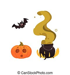 Halloween pumpkin lantern, bat and witch cauldron