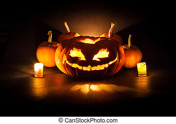 Halloween pumpkin lantern - Halloween pumpkin with candles...