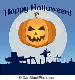 Halloween pumpkin laughs - Vector icon for the holiday...