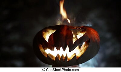 Halloween pumpkin. Looped - Glowing in the night smile...