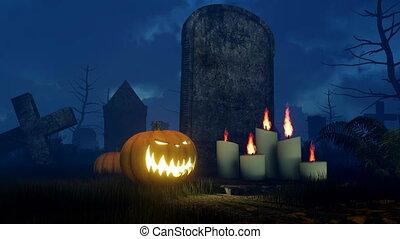 Halloween pumpkin near old tombstone at night -...