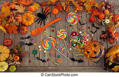 halloween, pumpkin., o, trucco, trattare, caramella