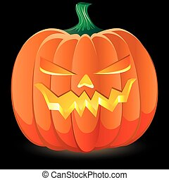 Halloween pumpkin on black background, part 1, vector illustration