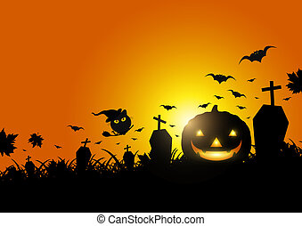 Halloween pumpkin on grass with moon light vector...