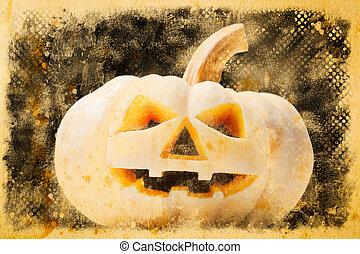 Halloween pumpkin on old vintage paper