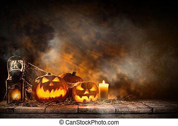 Halloween Pumpkin on old wooden table