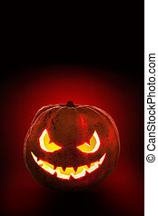 Halloween pumpkin on the dark background.