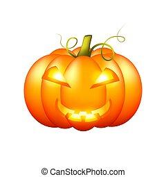 Halloween pumpkin on white background.