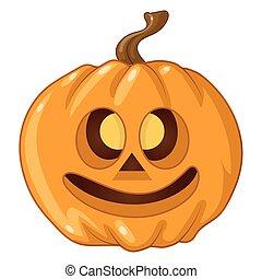 Halloween pumpkin on white background. Vector illustration.