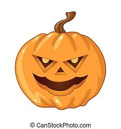 Halloween pumpkin on white background. Vector illustration