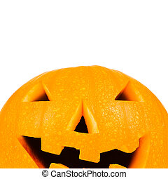 Halloween pumpkin on white with copyspace