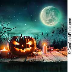 Halloween Pumpkin On Wooden Plank