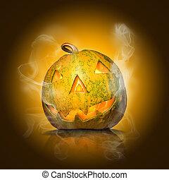 halloween pumpkin on yellow with smoke