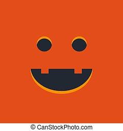 Halloween pumpkin or monster emoji on orange background