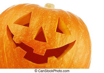 Halloween pumpkin - Funny carved Halloween pumpkin on white...