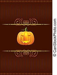 Halloween pumpkin postcard . Vector card for holiday