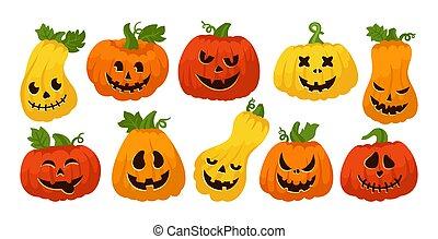 Halloween Pumpkin scared smiley face set vector