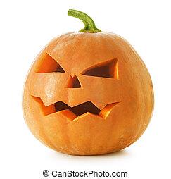 Halloween Pumpkin. Scary Jack O'Lantern isolated on white