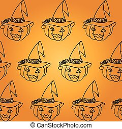 Halloween pumpkin seamless pattern