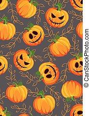 Halloween pumpkin seamless pattern on gray background with vine leaves. Cute halloween pumpkin pattern background. Halloween theme design vector illustration