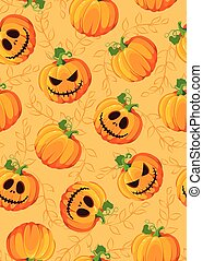 Halloween pumpkin seamless pattern on orange background with vine leaves. Cute halloween pumpkin pattern background. Halloween theme design vector illustration