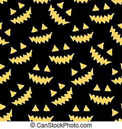 Halloween pumpkin seamless pattern. Scary repeating texture, endless background.