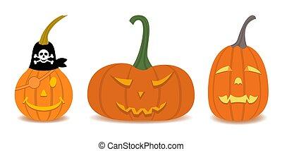 Halloween Pumpkin set in flat design