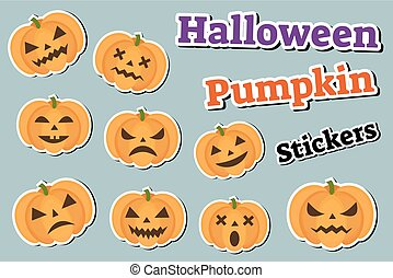 Halloween pumpkin set of stickers emoji, patches badges. Scary emoticons with pumpkins. Vector illustration.