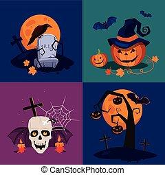 Halloween Pumpkin, Skull and Grave Vector Illustration Set