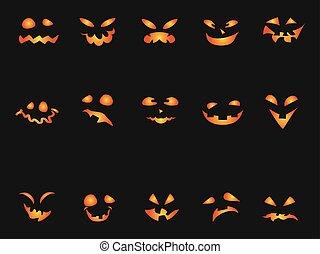 Halloween Pumpkin smileys icon background set