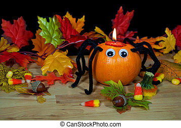 Halloween pumpkin spider - Pumpkin spider with candle and...