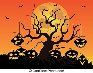Halloween pumpkin tree background