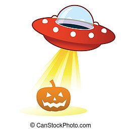 Halloween pumpkin UFO button - Halloween pumpkin Jack 'o...