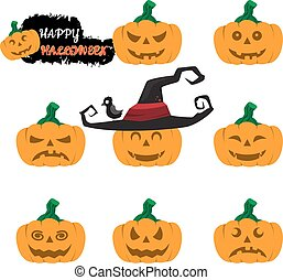 Halloween pumpkin vector set, Simple flat style design elements. Scary Jack-o-lantern facial expressions Illustration. vector illustration.
