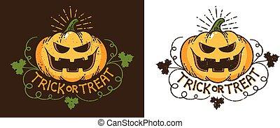 Halloween pumpkin - vintage print logo