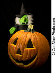 Halloween Pumpkin & Witch - Halloween jack o'lantern with...