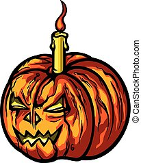 Halloween pumpkin with a candle.eps
