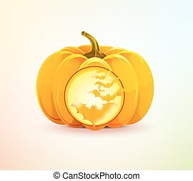 Halloween pumpkin with a carved bats