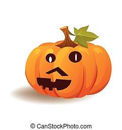 Halloween pumpkin with a mustache