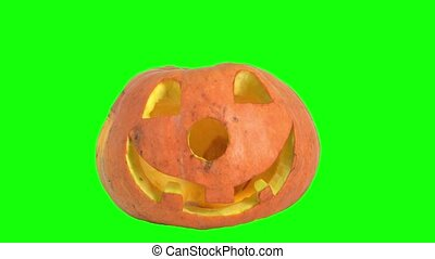 Halloween pumpkin with a scary face on a green screen