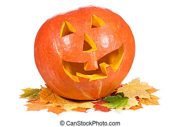 halloween pumpkin with autumn leaves on white background