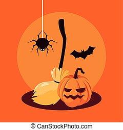 halloween pumpkin with bat and spider